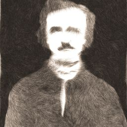 Digital generative painting of American author Edgar Allan Poe