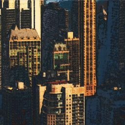 Hup Ho World cityscape painting of downtown Chicago