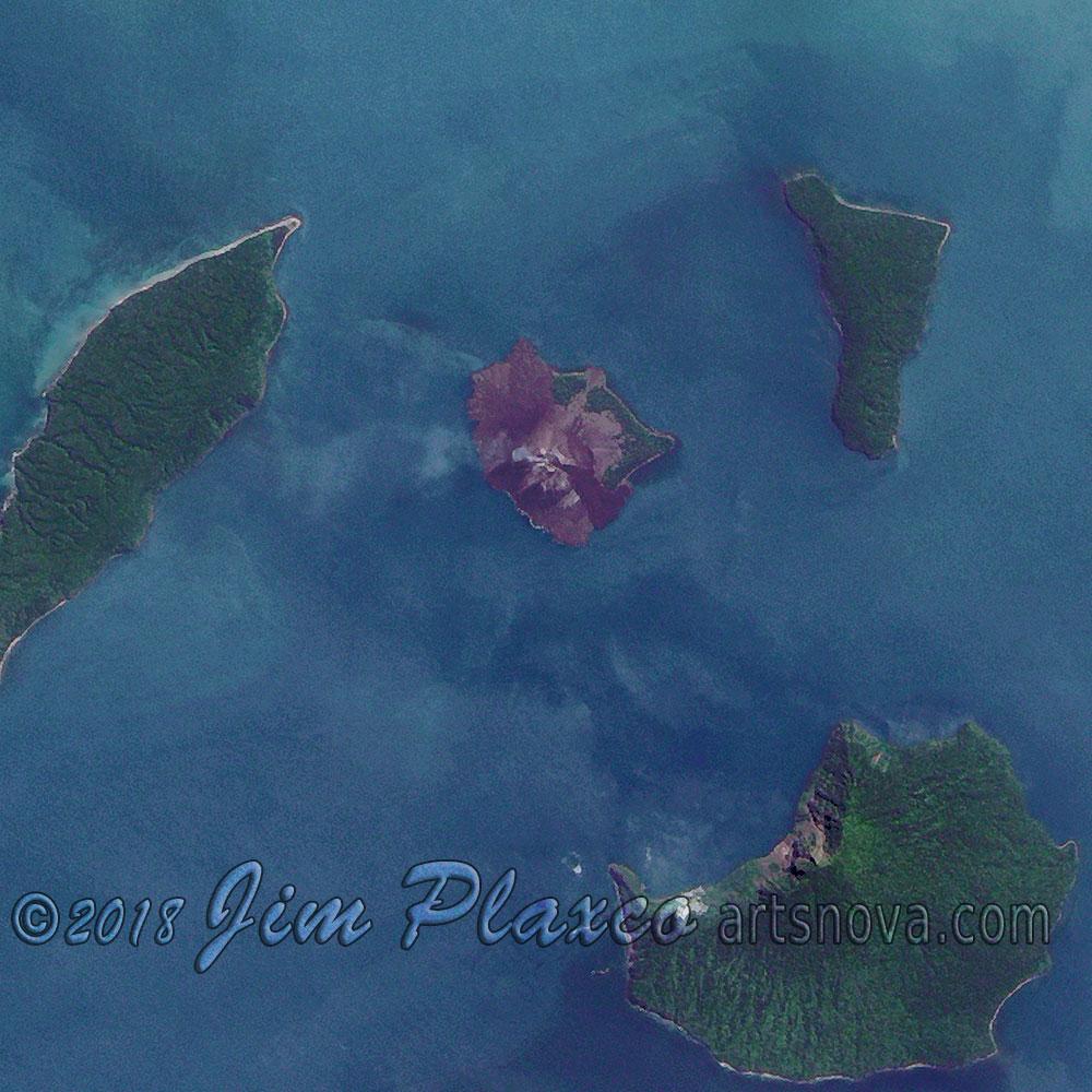Anak Krakatau (Krakatoa) Volcano - full size detail
