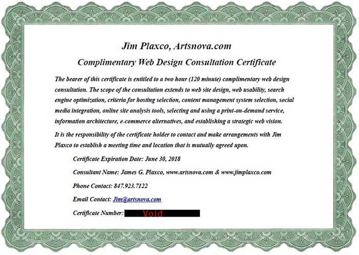 Web Consulting Services Certificate