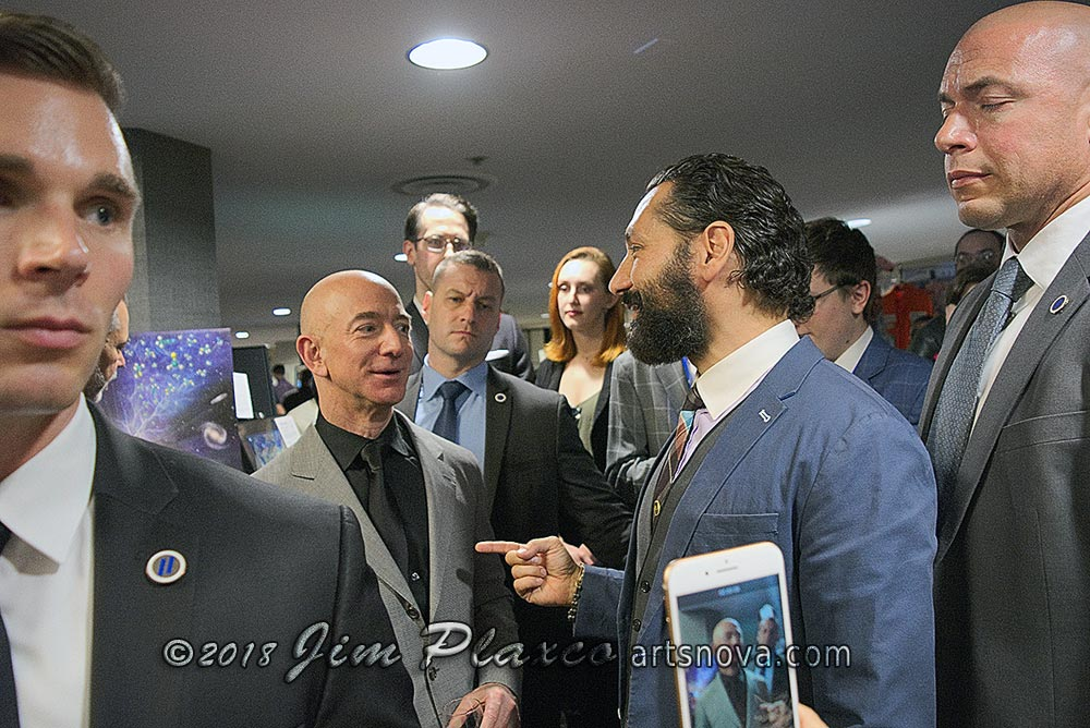 Jeff Bezos and actor Cas Anvar from The Expanse