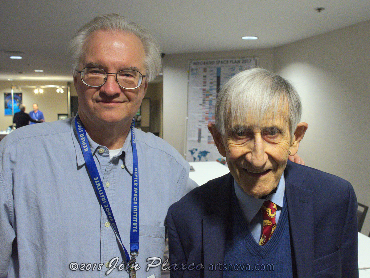 Posing for a photograph with Freeman Dyson