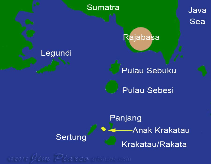 Map of the region of Krakatau Volcano in Indonesia south of Sumatra