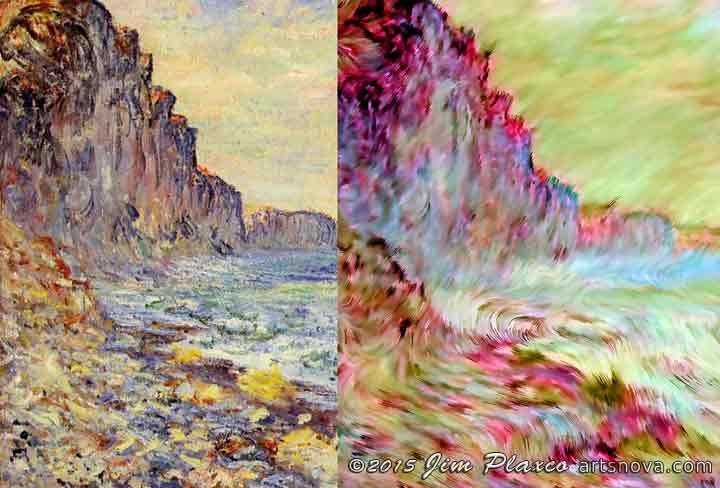 Monet original morning by the sea vs generative seaside