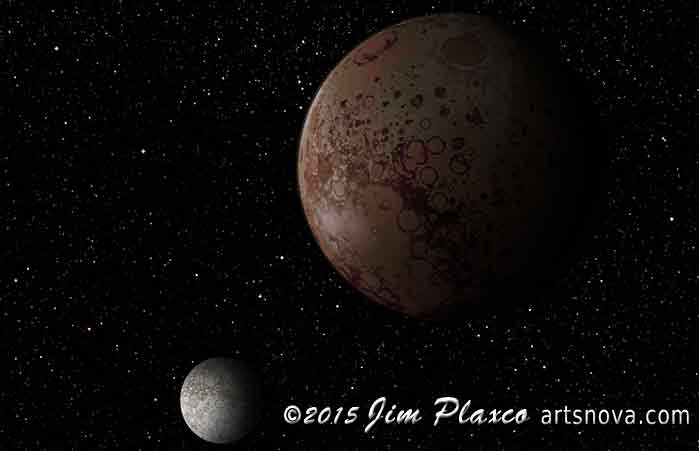 Art version of the dwarf planet Pluto and its moon Charon