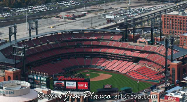 Saint Louis Cardinals Busch Stadium  from the Gateway Arch