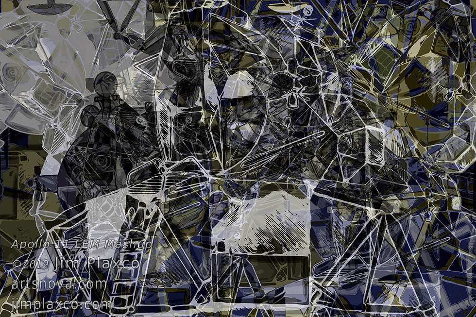 Apollo 11 Lunar Excursion Module Mashup Collage Art