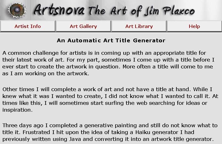 Automatic Art Title Generator