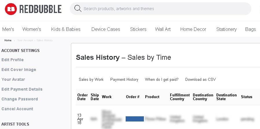 Redbubble Sales History CSV