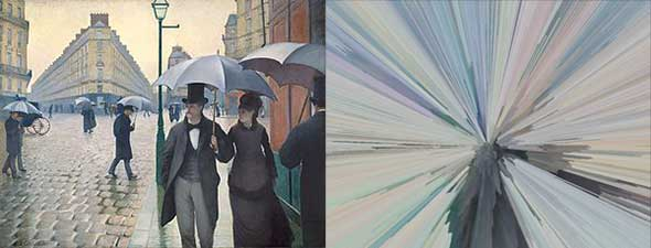 Caillebotte's Paris Street, Rainy Day before and after