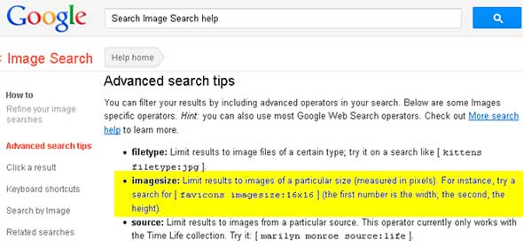 Google Advanced Image Search Help Page