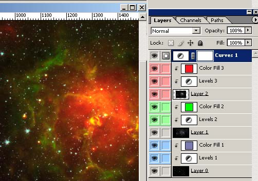 Photoshop Tutorial Trifid Nebula Layers