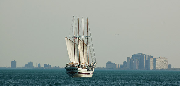 Windy schooner off Navy Pier