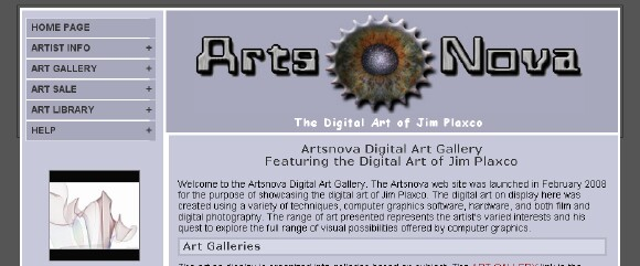 Artsnova alternate web design