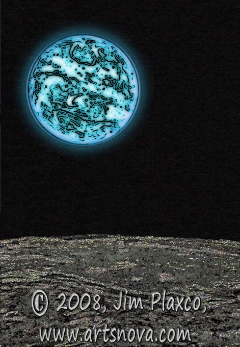 Gray Moon Blue Earth digital art
