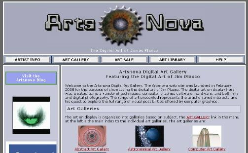 New Artsnova web site design screenshot
